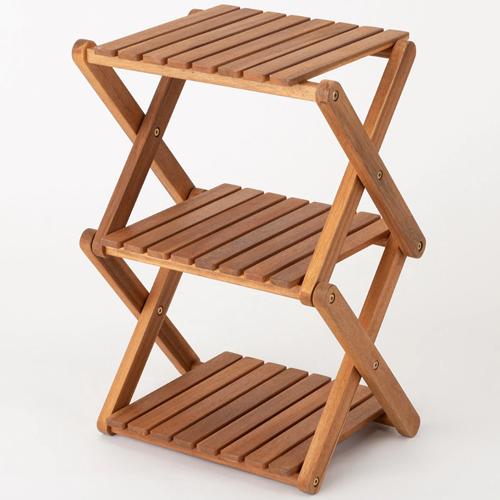 木製折りたたみラック 3段