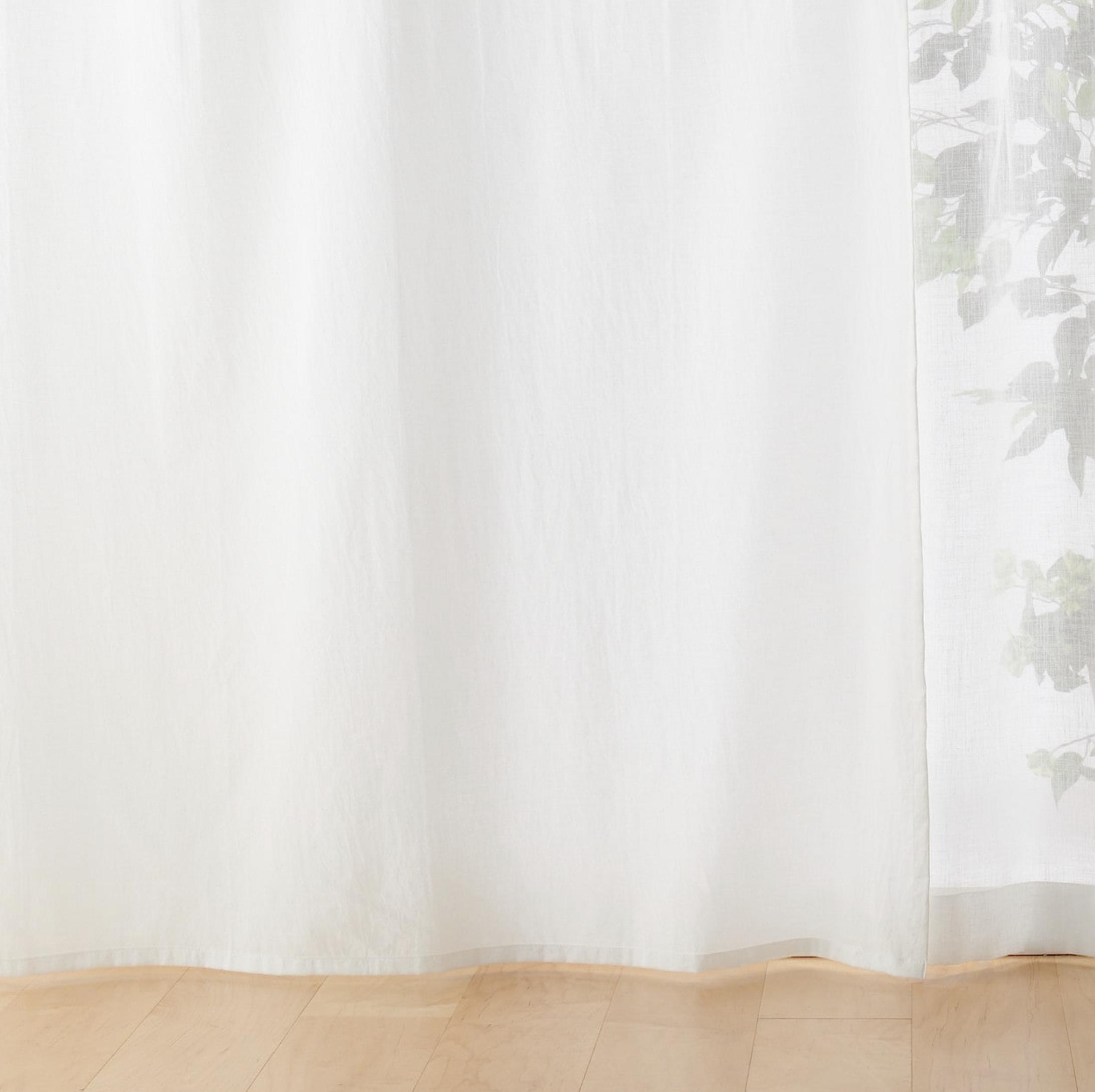 綿洗いざらしノンプリーツカーテン/生成 幅100×丈105cm用