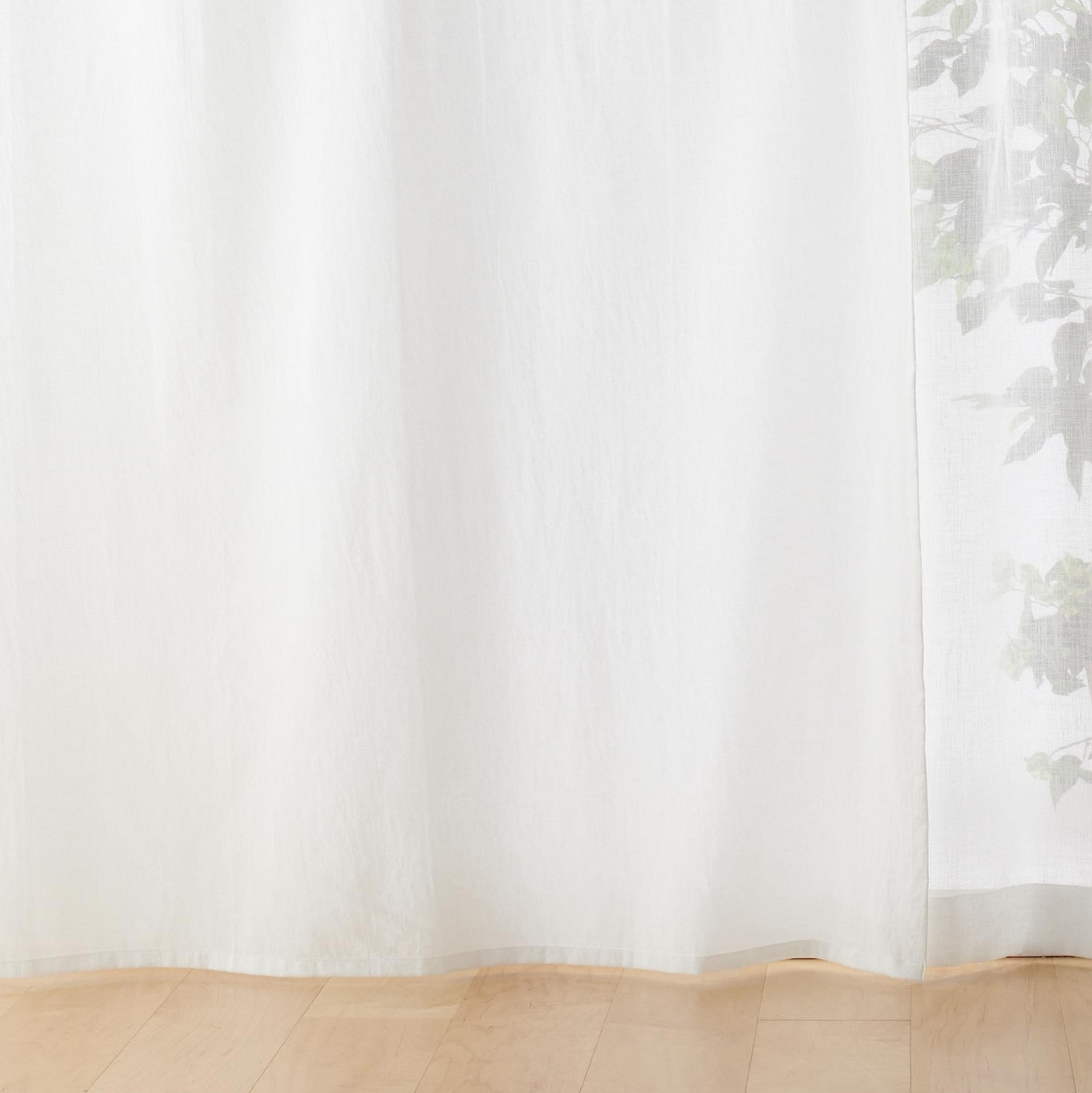 綿洗いざらし平織ノンプリーツカーテン/生成 幅100×丈105cm用