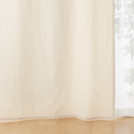 麻平織ノンプリーツカーテン/オフ白 幅100×丈105cm用