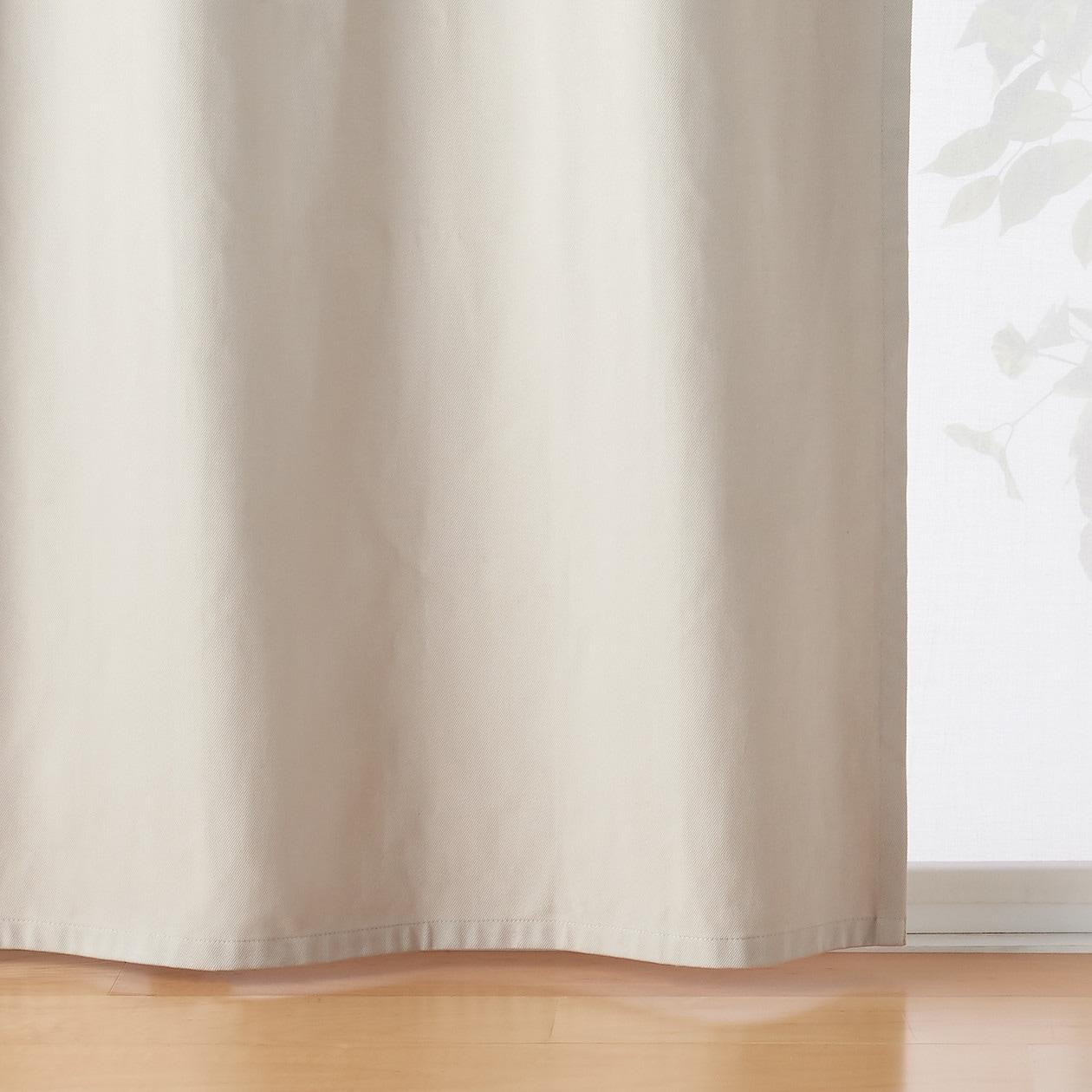 綿太番手ツイル(遮光性)ノンプリーツカーテン/ベージュ 幅100×丈105cm用