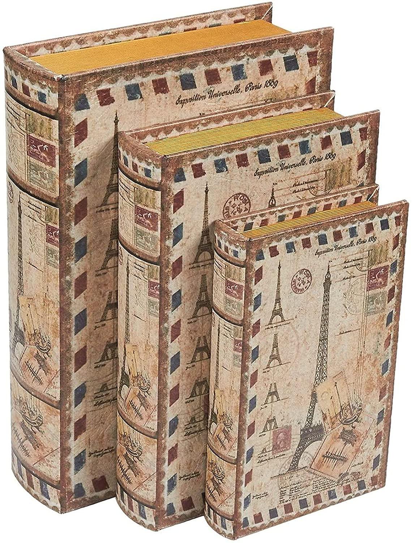 装飾収納ボックス エッフェル塔ブックデザイン (3サイズ 3パック)(Juvale)